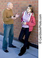 adolescente, child., contar, pai, pai, escutar, filha, him., seu, conversação