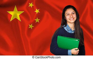 adolescente, chinês, sobre, bandeira, estudante, sorrindo
