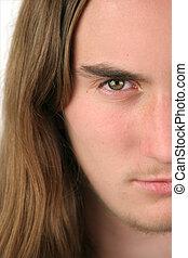 adolescente, closeup, metade