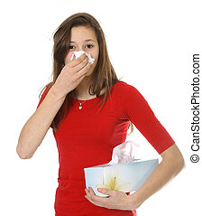 adolescente, com, alergia, ou, gelado