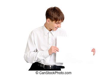 adolescente, com, em branco, papel