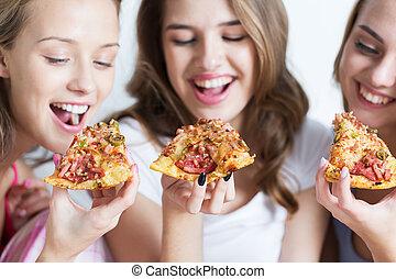 adolescente, comida, niñas, hogar, feliz, amigos, o, pizza
