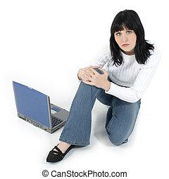 adolescente, computador portatil, mujer