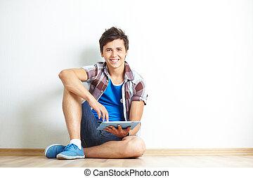 adolescente, con, touchpad
