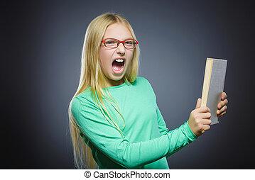 adolescente, conceito, zangado, cinzento, livro, fundo,  closeup, cansado, Retrato, menina, estudos, ou, bonito