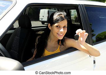 adolescente, conducción, ella, coche nuevo