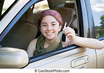 adolescente, conductor, con, coche adapta