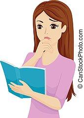adolescente, confusão, menina, livro