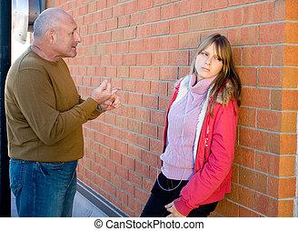 adolescente, contar, pai, pai, escutar, filha, criança, him., seu, conversação