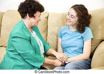 adolescente, conversazione, genitore