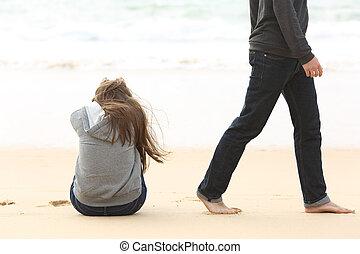 adolescente, coppia, scorporare, conclusione, relazione