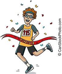 adolescente, corredor, cruz, el, fin, línea., caricatura, style., marathon.