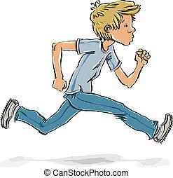 adolescente, correndo, boy., fretta