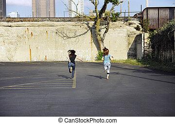 adolescente, correndo, ragazze