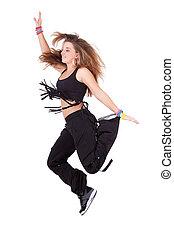 adolescente, danse, caucasien, houblon, hanche
