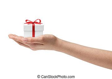 adolescente de sexo femenino, tenencia de la mano, presente