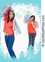 adolescente, dela, imagem composta, após, seguindo, shopp, amigo menina