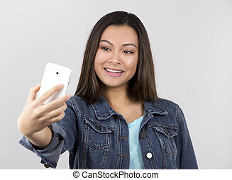 adolescente, e, cellphone