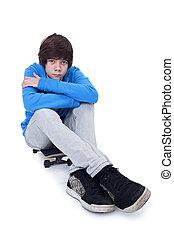 adolescente, e, seu, skateboard