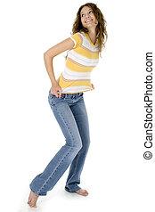 adolescente, em, calças brim