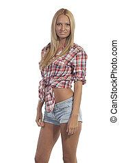 adolescente, em, calças brim, shorts