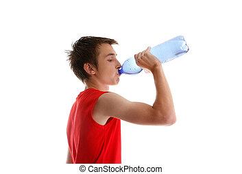 adolescente, embotellado, bebida, niño, agua