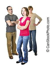 adolescente, en apuro, con, padres