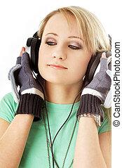 adolescente, en, auriculares, #2