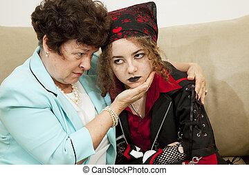 adolescente, enojado, mamá, preocupado
