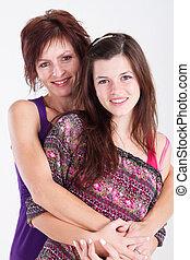 adolescente, envelhecido, filha, meio, mãe