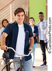 adolescente, escola, bicicleta, alto, estudante, macho