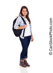 adolescente, escola secundária, menina, com, mochila