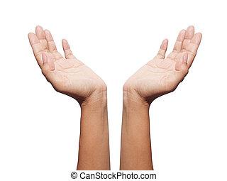 adolescente, esposizione, isolato, simbolo, protezione, femmina, bianco, mano