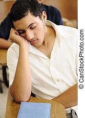 adolescente, estudante, dormir, em, conferência, tempo, faculdade