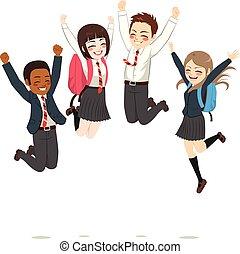 adolescente, estudantes, pular