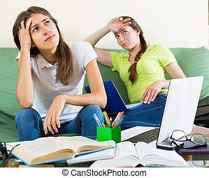 adolescente, estudiante, niñas, estudio, en casa