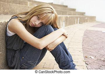 adolescente, estudiante, sentado, móvil, infeliz, teléfono, ...