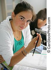 adolescente, exame, menina, escrita
