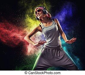 adolescente, explosión, bailando, auriculares, contra, polvo...
