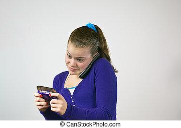 adolescente, falando, menina, texting