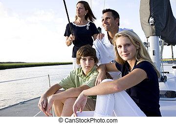 adolescente, família, sentando, doca, crianças, bote