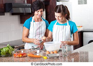 adolescente, figlia, mezzo, insegnamento, madre, cottura, invecchiato