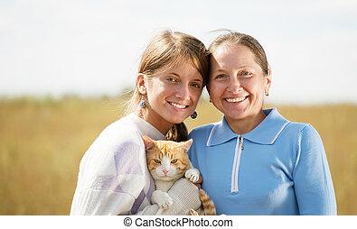 adolescente, filha, mãe