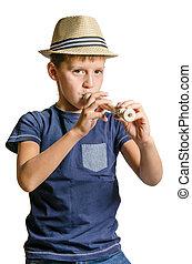 adolescente, flauto, blocco
