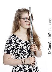 adolescente, flauto, malinconico, ragazza, leva piedi