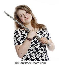 adolescente, flauto, ragazza, biondo