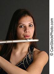 adolescente, flauto, ragazza