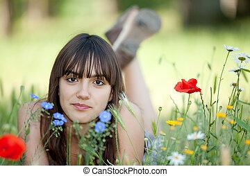 adolescente, fleurs
