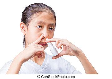 adolescente, fond, blanc, gouttes nez, utilisation