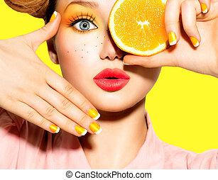 adolescente, freckles, penteado, pregos, maquilagem, amarela, menina, vermelho